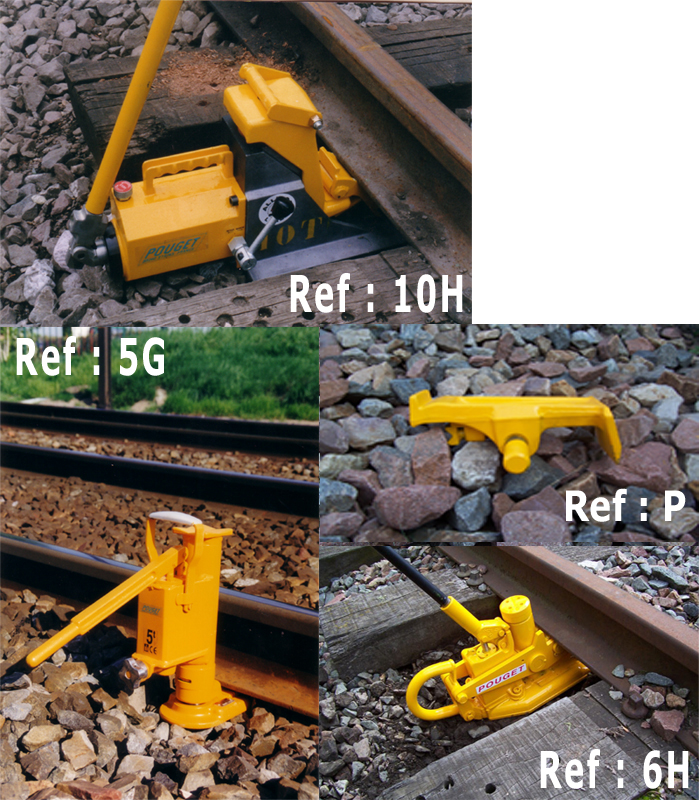 HYDRAULIC RAIL-LIFTING JACKS