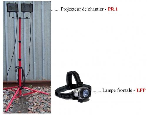 PROJECTEUR DE CHANTIER – LAMPE FRONTALE